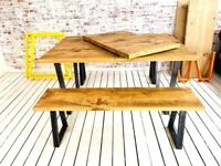 Industrial Extending Dining Table / Bench Sets with Tapered Frame - Any RAL Colour or Steel Finish