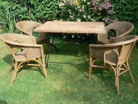 Garden Wicker Table and 4 Chairs