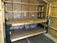 Huge solid work bench. 8 ft long x 3 ft deep x (88cm) high. 6 ft high with shelving