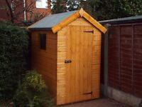 7x4FT APEX GARDEN SHED HEAVY DUTY TONGUE & GROOVE TIMBER ERECTED FULLY ASSEMBLED