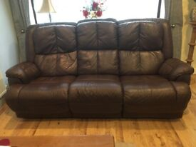 Brown Leather Reclining 3 seater sofa with 2 Single Reclining/Swivel armchairs.