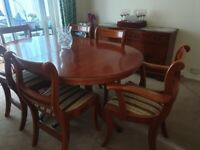 Dining table, chairs & sideboard
