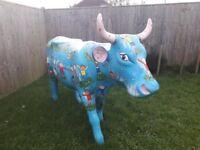 Unique artist designed lifesize painted fiberglass cow