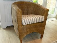 Pair of Suberb Lloyd Loom effect fine weave wicker tub chairs