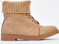 Beige sock insert boots size 5 brand new