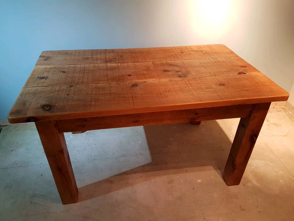Solid pine dining table & 2 chairs