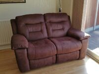 two seater sofa, colour brown, Faux suede