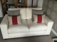 2 cream fabric sofas - 2.5 seater and 2 seater