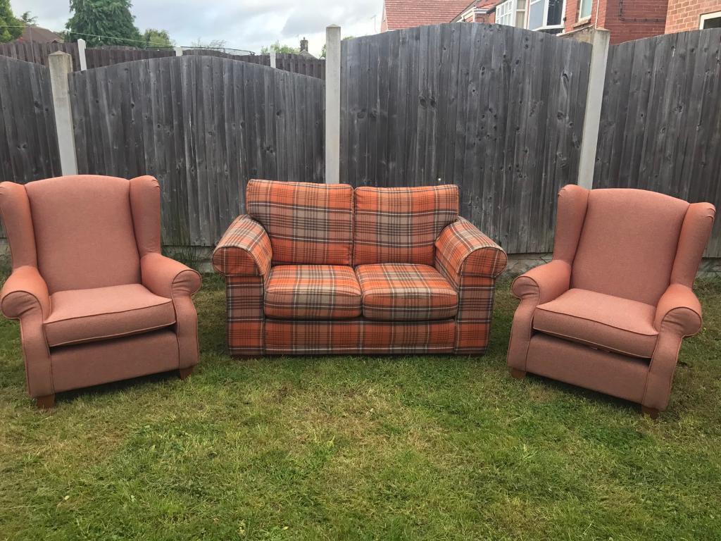 Next Tartan 2 Seater Sofa And Two Sherlock Chairs In