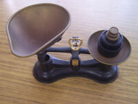 Vintage Set of Salter No 56 Traditional Brass weighing scales