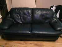 BARGAIN!!! 2 and 3 seater real leather navy sofas