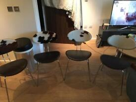 4 Leather & Cowhide Dining Chairs - Good Condition
