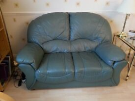 Green Leather Settees