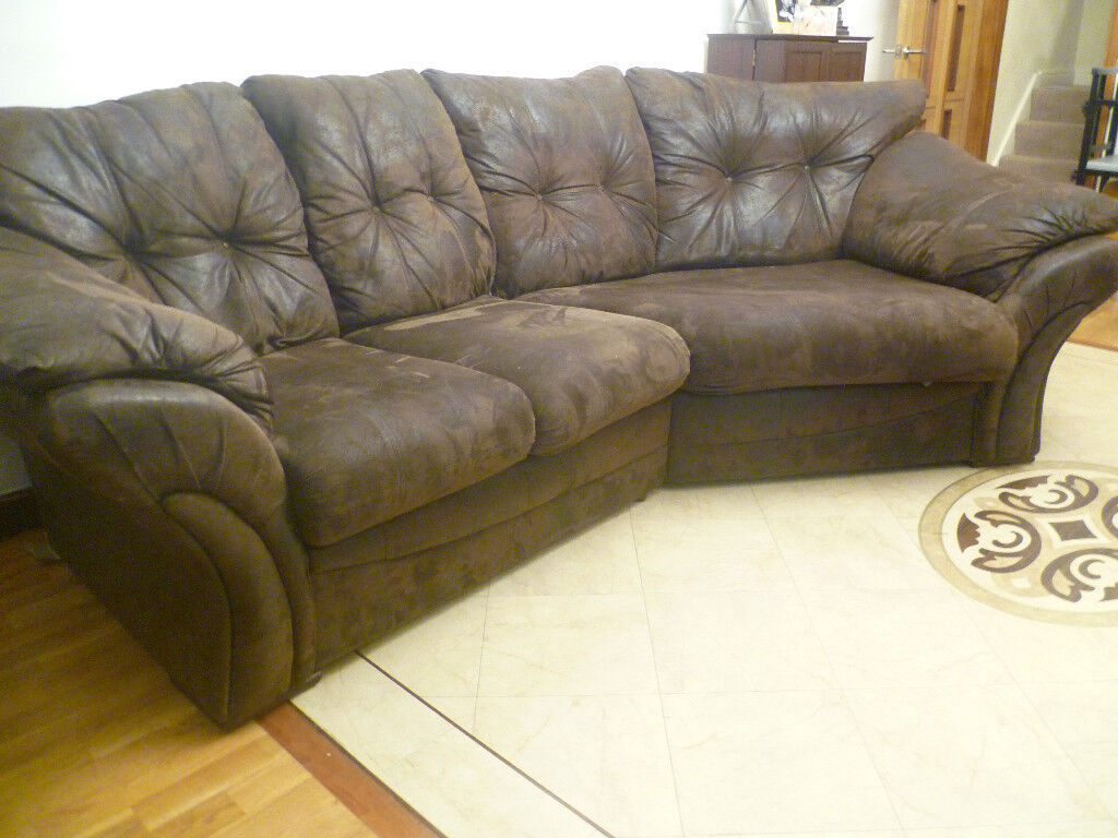 Bargain Corner Sofa Settee Couch Snug In Chocolate Brown I Can Deliver Excellent Condition