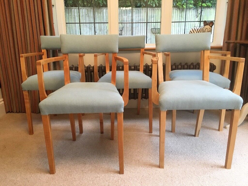 Five refurbished and reupholstered vintage retro beech dining
