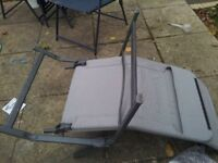patio folding cairs x4 two still partly wrapped plus folding sun lounger