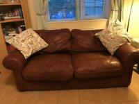 Two and Three Brown Leather DFS Sofas