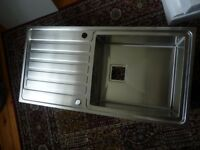 Kitchen sink, stainless steel, unused and in box complete with all fittings