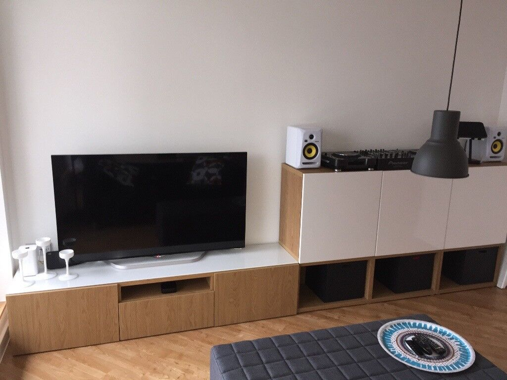 ikea besta tv cabinet and glass top besta side cupboards and lappviken doors in great. Black Bedroom Furniture Sets. Home Design Ideas