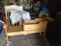 Welsh Ash wooden rocking chair cradle combo