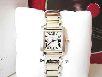 CARTIER TANK FRANCAISE LADIES W51007Q4 STEEL &18k YELLOW GOLD CARTIER BOX !!!