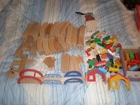 Wooden Train set brio / ikea / elc. 140 + pieces great condition