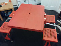 Folding Camping Table and Chairs in a Folding Suitcase - Red