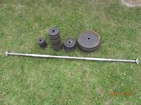 gym weights 70kg and metal bar