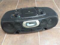 Philips CD, FM/AM, cassette ghetto blaster - black