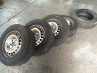 215/65 R16 C x 5 tyres and 4 x VW T5 steel wheels