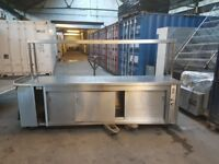 commercial stainless steal hot cupboard 3 sliding door with gentry light 2760mm