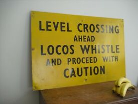Old Level Crossing Sign,Train Railway Engine,BR,Advertising,Metal,Aluminum,Enamel,Totem,SR,GWR,LMS