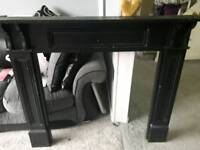 Painted black pine fire surround