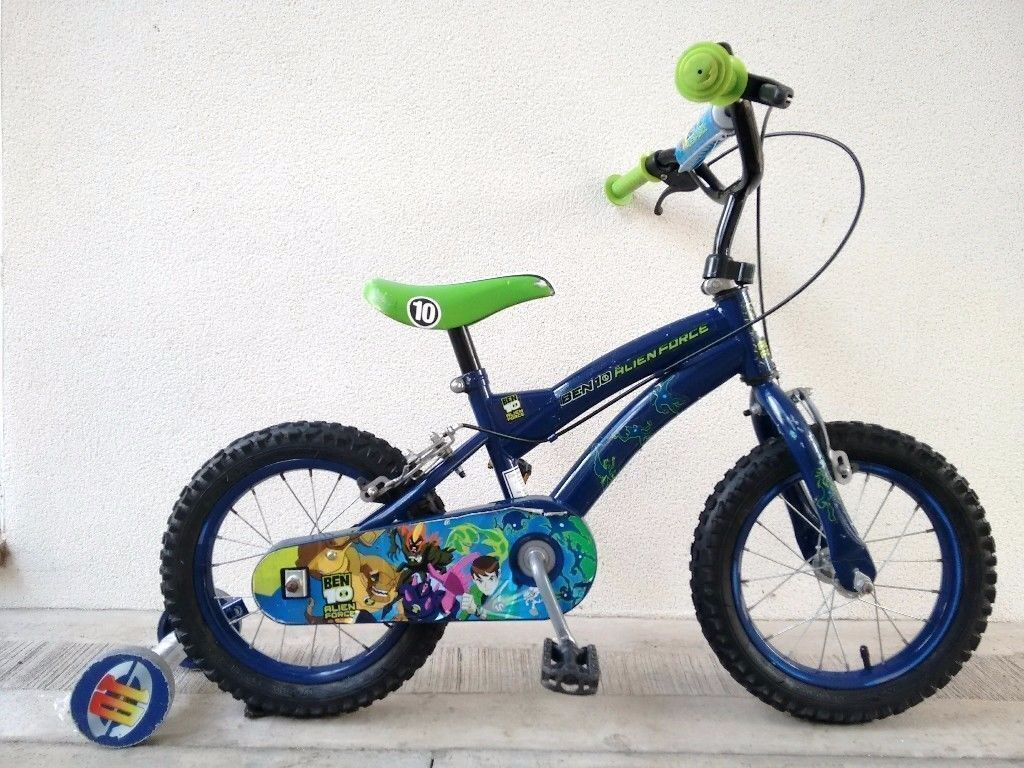 "FREE Bell with (2654) 14"" BEN10 Boys Girls Kids Bike Bicycle+STABILISERS Age: 4-5 Height: 98-112 cm"