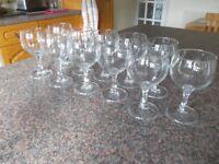 Eleven wine glasses as new