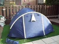 blue footpath outdoor persuits 3 man dome tent vgc easy to pitch up porch and 2 doors