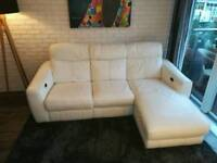 White genuine leather corner sofa with electric recliner