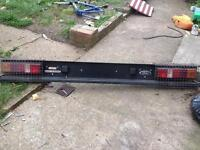 Transit back board with lights and cage