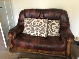 Leather & wood 2 seater sofa & 1 seater armchair