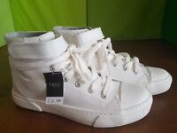 Women's Next White High Top Trainers White Size 3,5 (eur 36)