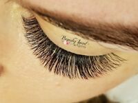 Russian volume eyelash extensions, professional services in salon