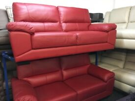 NEW / EX DISPLAY Red ScS Leather Vixen 3 + 2 Seater Sofas