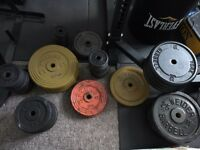 7 foot barbell, dumbbell set and Standard weights 234.41 kg with weight tree, bicep bar, EZ E-Z Curl