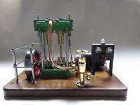 Live Steam engine model - twin cylinder marine setup with dynamo