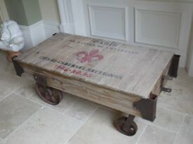 NEW vintage style railway train coffee table made from reclaimed materials