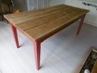 6ft Farmhouse Style Pine Dining Table - seats 8 to 10