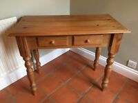 Antique Solid Pine Antique Writing Desk or Hall Table