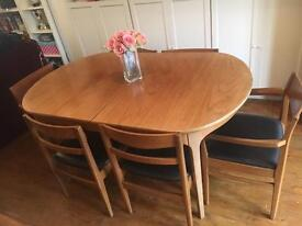 Extending Vintage Nathan Wooden Table with 6 Chairs