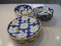 Blue and white daisy check handpainted Italian crockery, ex John Lewis in 1997 - excellent condition