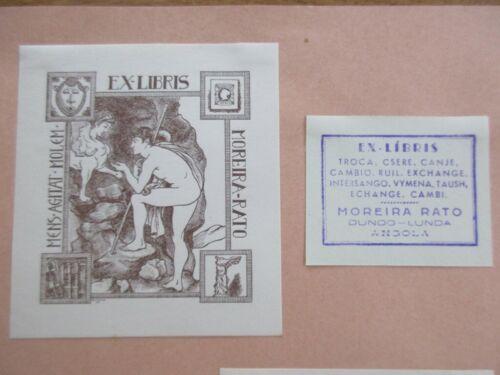 EX-LIBRIS CLICHE BOTELLA 1927 LA FEMME AILEE ET HOMME NU MOREIRA RATO ANGOLA